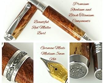 Custom Wooden Pen Fountain Pen Beautiful Red Mallee Burl  Rhodium and Black Titanium Hardware 767FPA