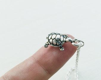 Silver Sea Turtle Necklace, Turtle Charm Necklace, Sea Turtle Pendant