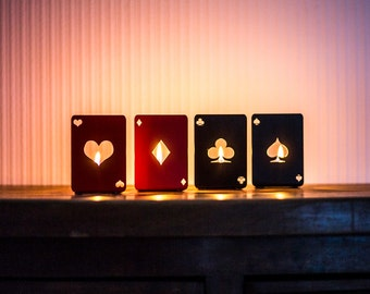 Four candle holders - Playing lights - // cool light source for a game of cards // Man cave decor // housewarming present // Free shipping.