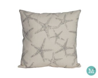 Coastal Grey Starfish Pillow Cover - 18 x 18, 20 x 20 and More Sizes - Zipper Closure - sc1820