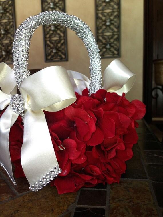 Flower Girl Basket Modern : Custom red flower girl basket by thecrystalflower on etsy