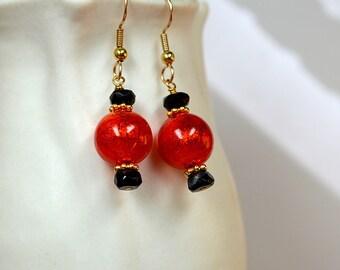 Red Murano earring with black onyx bead earring Colorful Italian Venetian glass drop earrings Gold filled ear wire Office jewelry