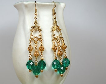 Gold filigree chandelier earrings Turquoise glass bead earrings Shoulder duster earrings Long drop earrings Prom party Renaissance jewelry