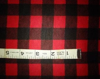 "Red & Black Buffalo Plaid Cotton Flannel Fabric, By the Yard, Half Yard or FQ - 43-44"" Wide"