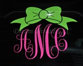 Bubble Bow Monogram Car Decal (made to order)