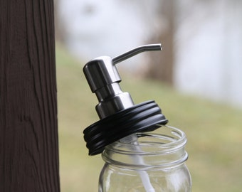 DIY Mason Jar Soap Dispenser Pump with Black Lid - Stainless Soap Dispenser Pump Top - Lid / Pump Only - Fits Pint & Quart Mason Jars