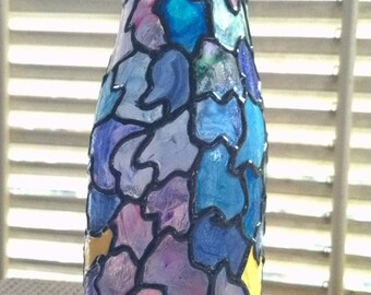 Hand Painted Stained Glass Jar with Lid Art