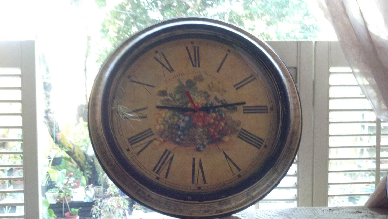 Vintage Grapes Edinburgh Clock Works Company Wall Clock