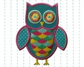 Blue Owl Iron on Patch Applique - Embroidered patch - polka dot