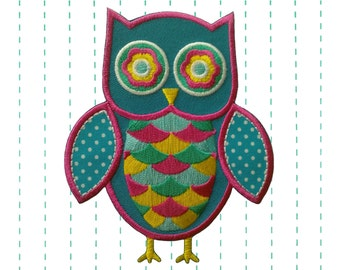 Iron on Patch  Blue Owl Applique - Embroidered patch - polka dot