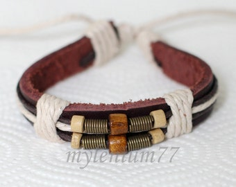 460 Men's brown leather bracelet Beads bracelet Charm bracelet Springs bracelet Cotton ropes bracelet Fashion jewelry For men and women