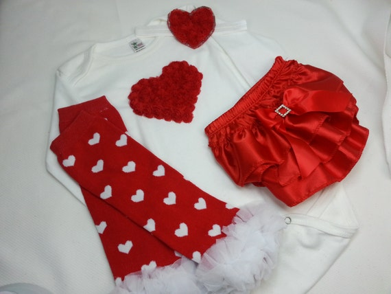 Girls Valentine Outfit, t Onesie, Red Ruffle Bloomers, Headband, Leg Warmers