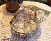 Glass Divided Candy Dish in Metal Caddy Small Serving Home Decor Sectional Bowl Retro Glassware Depression Era Starburst Pattern Vintage