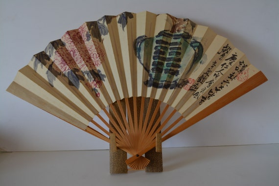 Japanese Fan Stand : Decorative fan with display stand bamboo and paper vintage