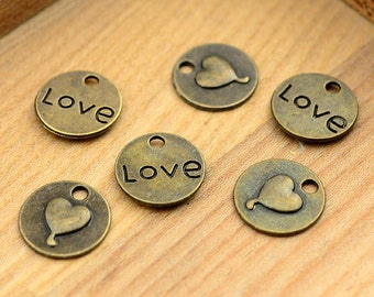 High Quality--10pcs 15mm Antiqued Vintage Bronze Heart Charm Pendant,Holiday Charm, Pendant