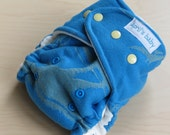 One Size Hybrid Fitted Cloth Diaper - Blue Dinosaur Wrap Scrap