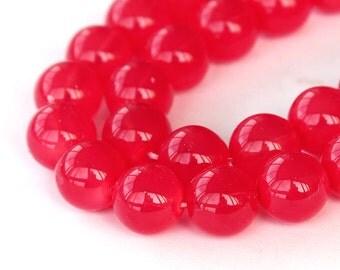 Milky Strawberry Red Czech Glass Beads, 10mm Round - 25 pcs - e37895-10r