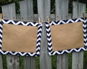 Navy Chevron and Burlap Placemats- set of two- reversible