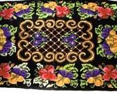 6.72ft x 4.75 ft, Gypsy Rhapsody in Black , Handwoven Kilim, Woolen Kilim, Area Rug, Ethnic Rug, Green Kilim