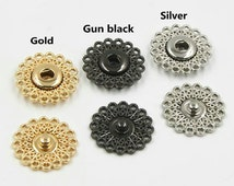 6 pcs 0.83~0.98 inch High-grade Gold/Gun black/Silver Hollow Flower Snap Fasteners Metal Shank Buttons for Down Jackets Coats Sweaters