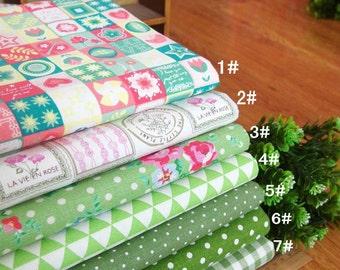 100% Linen Cotton Fabric Cloth -DIY Cloth Art Manual Cloth -Sweet Green Grids/Flowers/Polka Dots