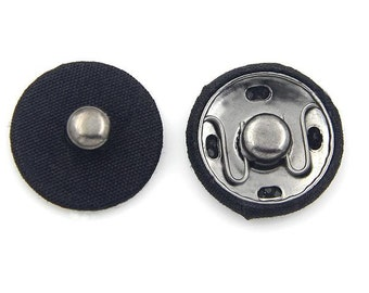 6 pcs 0.67~1.06 inch Black Snap Fastener Cloth Metal Shank Buttons for Coats