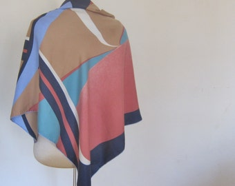 1970s SILK scarf TINO LAURIE abstract graphic hand rolled