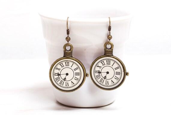 Brass Clock Earrings, Art Noveau gift, Brass earrings  3/4 inch (16mm)
