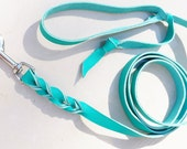 TURQUOISE Mellow Tan leather leash, lighter than bullhide