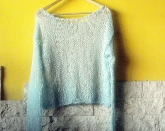Casual Cropped Mohair Sweater, Semi Sheer Knit Top, Blue,Coral Pink,Coral Red, Dark Red,Black,White