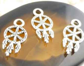 Antique Silver Tiny Dream Catcher Charms  (10) - S9