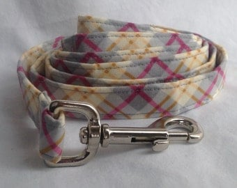 Dog Leash - Pink And Grey Plaid