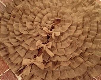"Sewn Burlap 50"" Handmade Ruffle Tree Skirt"