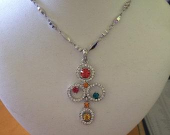 Rainbow swirl crystal necklace