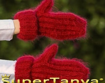 Made to order hand knit thick and fuzzy mohair mittens in red by SuperTanya