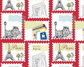 Fat Quarter Pepe in Paris French Scene 'Stamps' Red Quilting Fabric-Riley Blake