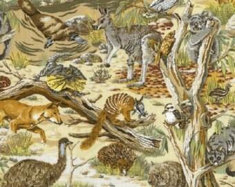 Fat Quarter Animals Of Australia Cotton Quilting Fabric Australian Wildlife
