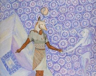ORIGINAL ART Anubis Acrylic painting