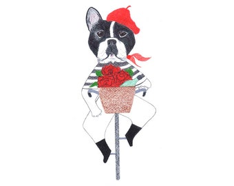 French Bulldog Card - French Bulldog on a Bicycle