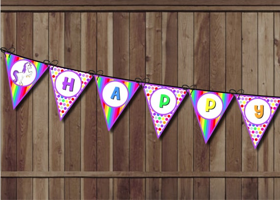 Unicorn Birthday Banner: Unicorn Party Birthday Banner Rainbow Party Banner Rainbow