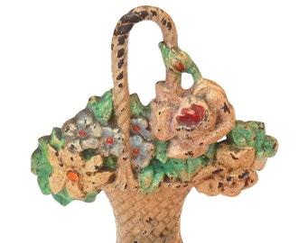 VINTAGE PINK HUBLEY Doorstop - Floral Roses - Cast Iron - Basket of Flowers - Painted - 152
