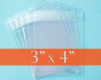 200 3 x 4 Inch Resealable Cello Bags, Clear Cellophane Plastic Packaging, Acid Free