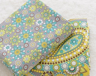 A B Coordinating Paisley Fabric Cotton Fabric, Green Yellow Gray Floral Fabric for Quilt Fabric-1/2 Yard