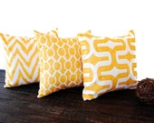 Yellow pillow covers set of three Corn Yellow cushion cover modern mustard pillows
