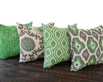 Throw pillow covers Set Of Four green gray beige ikat batik cushion cover pillow sham