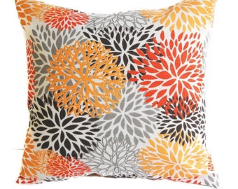 Throw pillow cover one Blooms orange gray brown grey tangerine Autumn Thanksgiving pillows