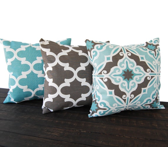 Items similar to Throw pillow covers cushion covers gray brown light blue white pillow cases set ...