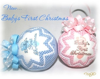 Baby's First Christmas Boy  Commemorative Quilted Ornament