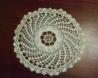 "Beautiful Hand Crocheted Antique White Doily,  11"" Diameter     (DD)"