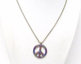 Small Multicolored Earth Tone Peace Symbol Necklace